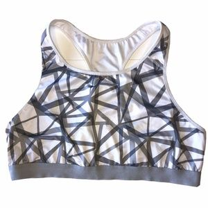 Old Navy Active White Gray Pullover Sports Bra